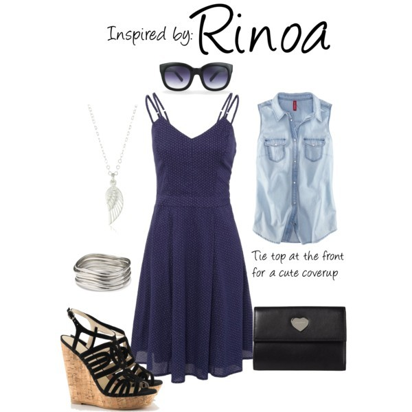 Rinoa (Final Fantasy) by ladysnip3r featuring cat eye sunglasses This outfit is inspired by Rinoa of Final Fantasy. I chose to layer a summer dress with a cropped denim tank. Tie the front of the shirt to create a cute summer looks. I also chose wedges and a matching clutch that imitates her in-game outfit. (Reference Image)  Firetrap dress, £39H M sleeveless shirt, £15H&M platform heels, £30Coccinelle wallet, $87Dogeared Jewels Gifts pendant necklace, $68Cuff bangle, $38Vince Camuto cat eye sunglasses, $65