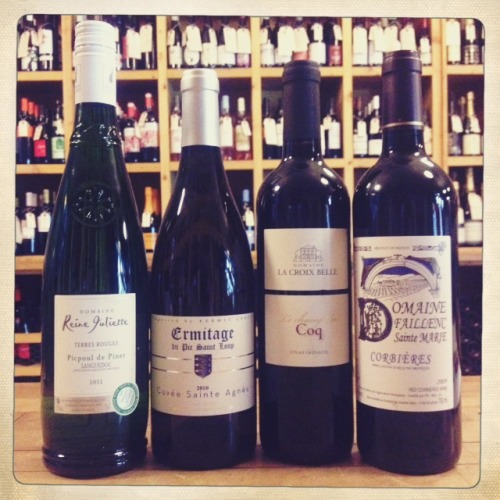 "FRIDAY TASTING ALERT Kick off the weekend at Dandy tonight, 4-7 pm, with a tasting of four stellar wines from the south of France. Festival Sud de France is a city-wide celebration of the food, wine, and culture of the Languedoc-Rousillon region, and we're delighted to share a selection of their unique wines with you!  Domaine Reine Juliette Picpoul de Pinet 2011 This brisk and breezy white hails from a vineyard that literally used to be part of the ocean floor. The soil still hides fossils of ancient sea creatures which nourish the grapes and lend the wine a bracing acidty and refreshing minerality. ""Picpoul"" means ""lip stinger"" and there's nothing more refreshing on a hot day. $12 Ermitage du Pic Saint Loup Cuvee Sainte Agnes 2010 50% Roussanne, 30% Clairette, 10% Marsanne, and 10% Grenache Blanc, Cuvee Saint Agnes is a truly special white that really embodies the terroir of the region. Farmed biodynamically with little intervention during vinification, it's a full bodied wine with undeniable elegance. $23 Domaine la Croix Belle Le Champ du Coq 2010  A blend of Syrah and Grenache from a sustainable vineyard in the Cotes du Thongue, Le Champ du Coq is dark and fruit forward, with hearty notes of blackberries and currants. It's an easy choice for burgers on the grill! $13 Domaine Faillenc Saint Marie Corbieres 2009 Here's another approach to the Syrah and Grenache blend, this time from Corbieres. This complex red tastes like the South of France: black cassis, with hints of black olive and violets. A perrenial favorite! $16"