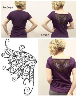 "truebluemeandyou:  DIY Organza Floating Wings Tee Shirt Restyle Tutorial by Urban Threads here. I haven't posted about Urban Threads in a long time, but they have cheap,  modern embroidery designs available for machine or hand stitch embroidery or stock art (lots of tattoo and Steampunk inpspired designs). You could hand embroider the wings to chiffon or organza and that's why I pictured their hand embroidery wing above. *They often have free downloads under ""free stuff"" and right now it's a roller derby ""Hit Like a Girl"" patch embroidery design here."