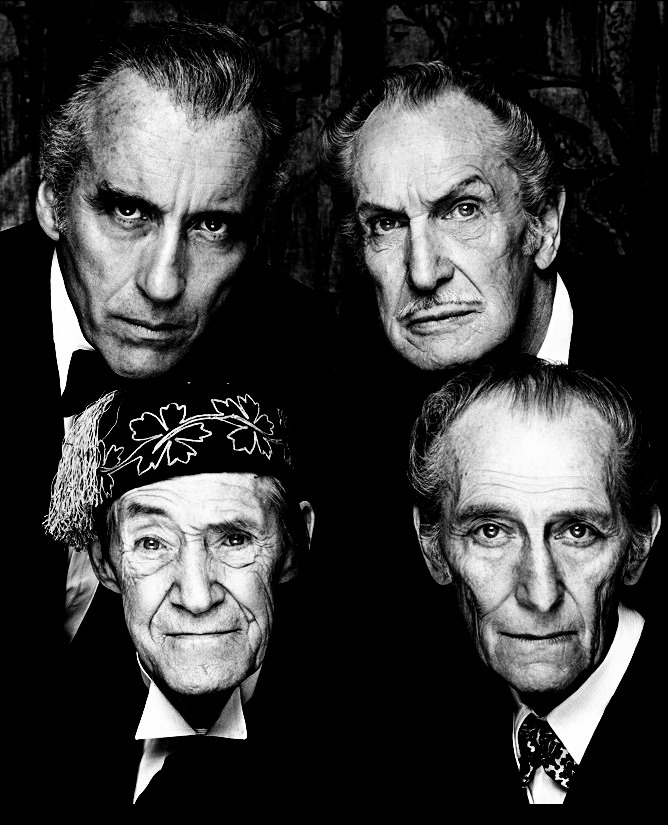 hollywoodlady:  Christopher Lee, Vincent Price, John Carradine & Peter Cushing