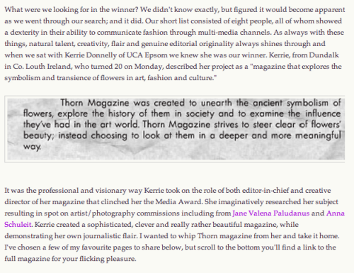 Melanie Rickey of Grazia Magazine's lovely blog post about me. So honored!