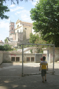 allisondegeorge:  soccer below the church on Flickr.