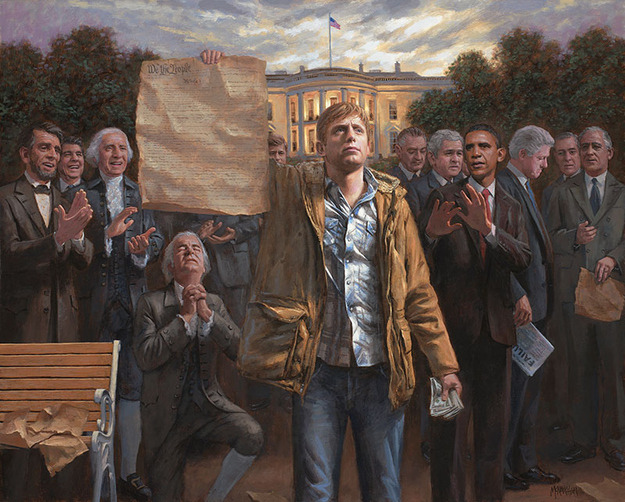 "motherjones:  ""The Empowered Man,"" by a Utah tea party painter who loves liberty and is not at all making a racial comment. ""There's something simmering deep inside the soul of all Americans,"" the artist says. ""We want to know that we're a free people. That the government acknowledges our individual rights and that fiscal responsibility is an absolute requirement."" Along with Carhartt jackets and blue jeans. ""Do we have freedom when one half of the country pays taxes to support the other half?"" the artist asks. Maybe he should stick to painting and grumbling to himself about this ""other half"". We've debunked his statement here, and here, and here, and here."