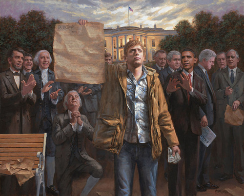 """The Empowered Man,"" by a Utah tea party painter who loves liberty and is not at all making a racial comment. ""There's something simmering deep inside the soul of all Americans,"" the artist says. ""We want to know that we're a free people. That the government acknowledges our individual rights and that fiscal responsibility is an absolute requirement."" Along with Carhartt jackets and blue jeans. ""Do we have freedom when one half of the country pays taxes to support the other half?"" the artist asks. Maybe he should stick to painting and grumbling to himself about this ""other half"". We've debunked his statement here, and here, and here, and here."
