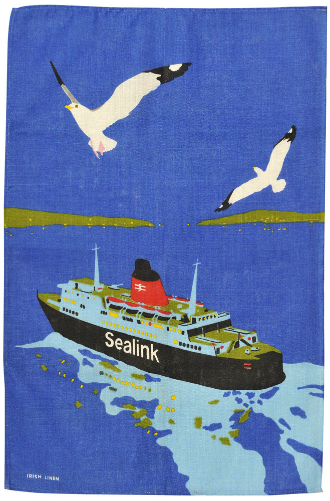 c86:  British Rail Sealink tea towel, c. 1978 via Jane McDevitt
