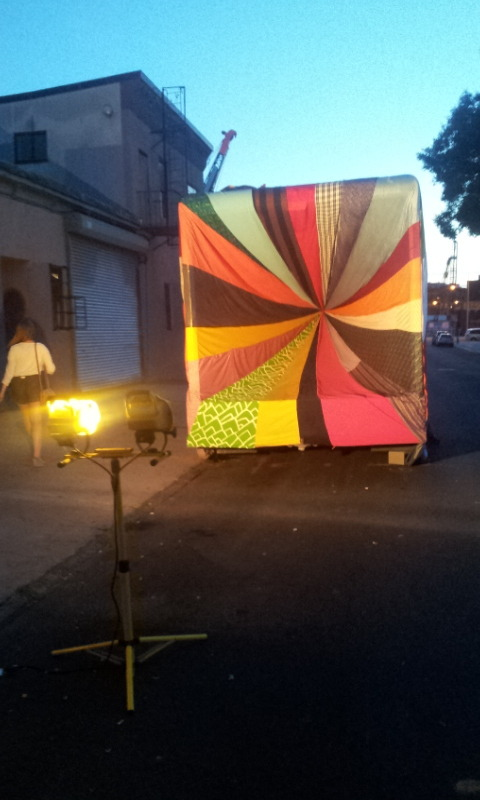 Amanda Browder, Chromatic Hi-Five, Brooklyn, New York City In her art project, she transform a standard cube van by covering it with a fabric sculpture.  Amazing!