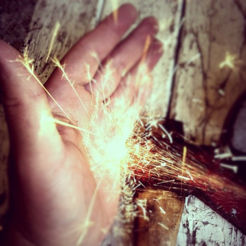 I am a #firework #sparks #hand #art #creative #photography #hairy #tools #handyman  (Taken with Instagram)