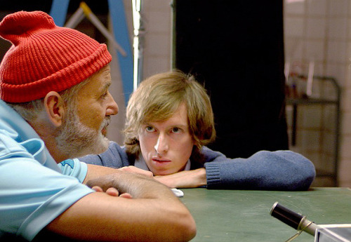 pickledelephant:  Bill Murray and Wes Anderson on the set of The Life Aquatic with Steve Zissou (2004)
