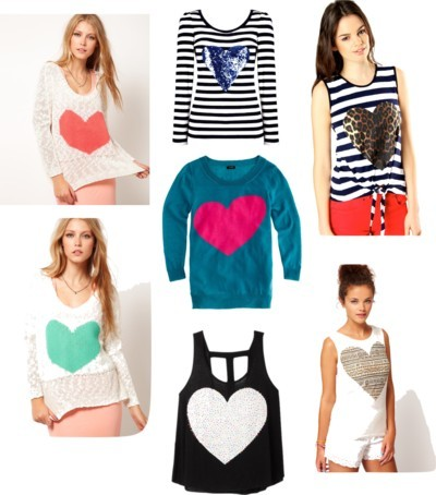 Hearts Everywhere by chiconthecheap featuring cut out tops   J Crew heart sweater Love cut out top Neon top Striped top Leopard print top River island