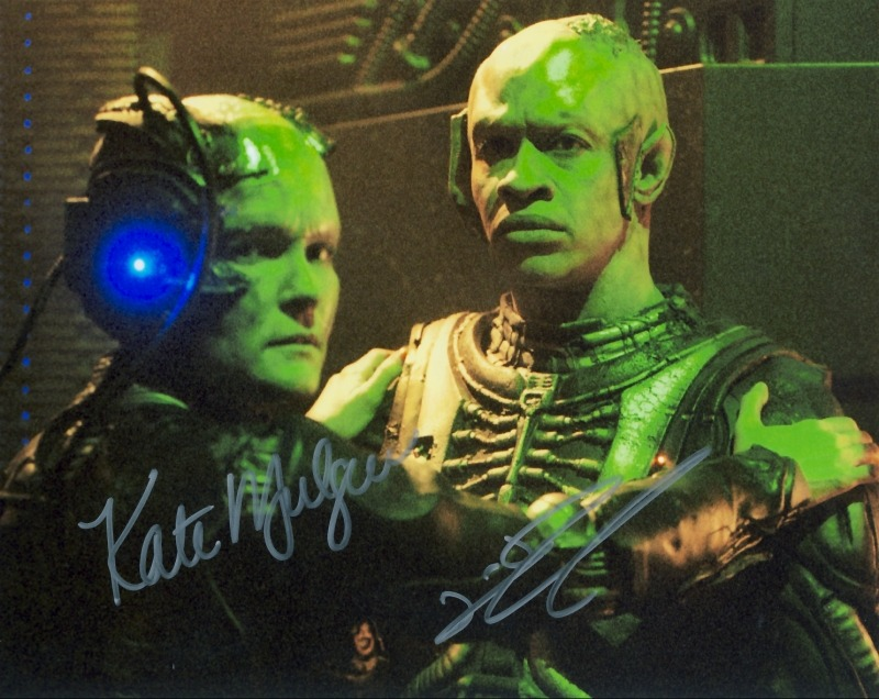 Janeway & Tuvok (of Borg, no less!) buddy shot.  Signed by Kate Mulgrew and Tim Russ, respectively. :)