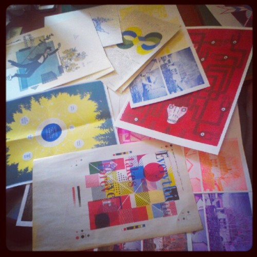 Risograph prints at the paper pusher studio.  (Taken with Instagram)