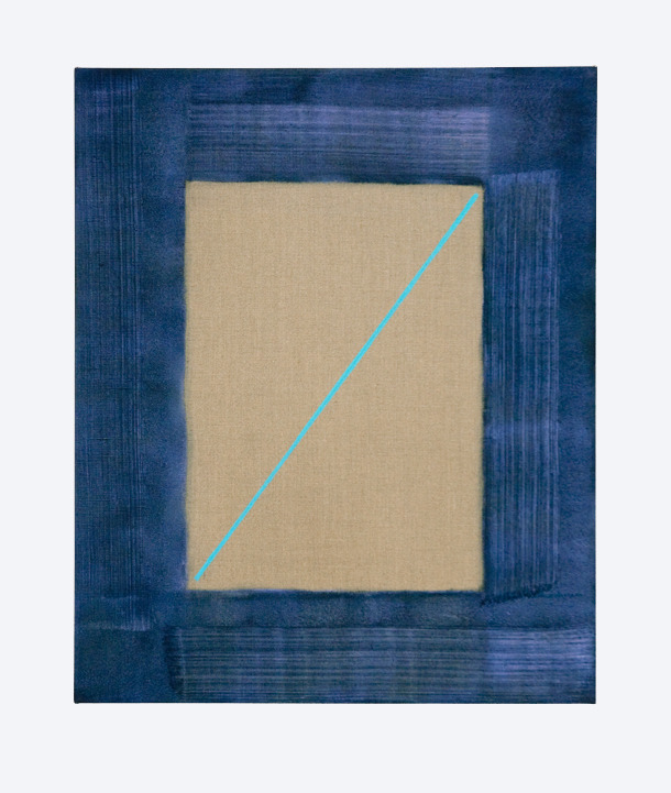 DAN MILLER - BLUE VECTOR (2010) Oil & interference acrylic on linen, 50cm x 60cm