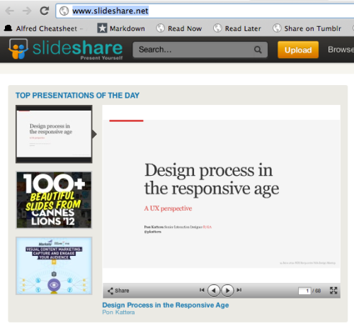 uxrave:  Thanks to everyone who helped make my talk on Design Process in the Responsive Age one of the top presentations on Slideshare today!
