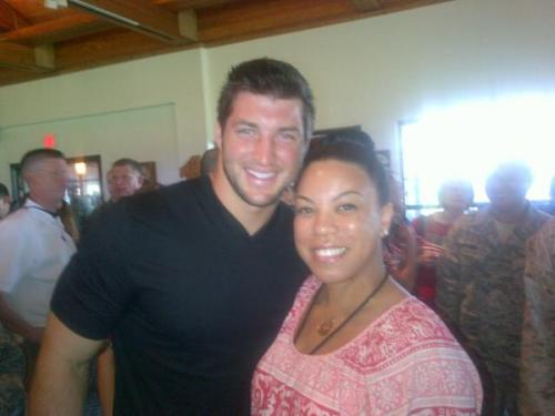 supporttimtebow:  I love a man in black! Tim today at the Air Base!