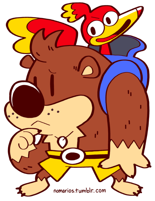 nomarios:  Banjo and Kazooie, Banjo-Kazooie, N64 Tired of having to traverse dangerous terrain while your Breegull gets to chill in your backpack? Just use the Talon Trot EVERYWHERE BUY A PRINT OF THESE CHARACTERS!