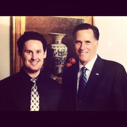 Pic with Republican Presidential Nominee Mitt Romney at Alex Spanos' house in Stockton, California. Upload via Instagram Kyle Tibbitts