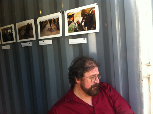 Jim Estrin at The New York Times container at Photoville on the Kalyn waterfront.