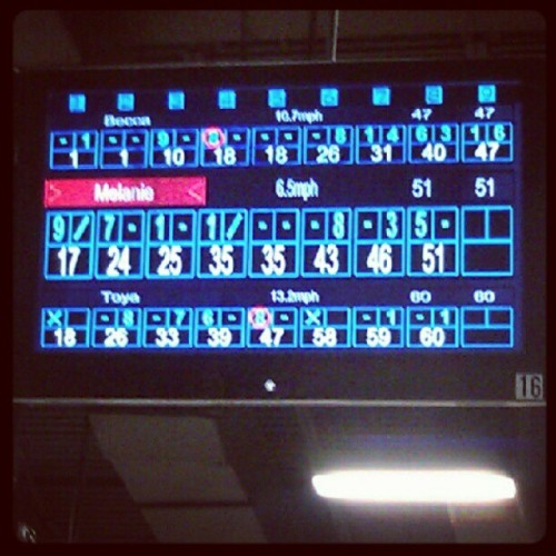 Bowling with my girls! I'm in second place, btw. (Taken with Instagram)