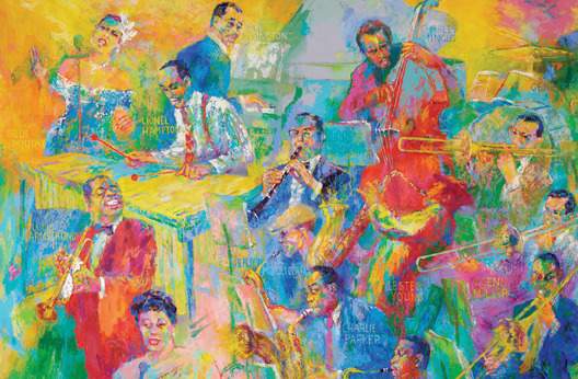"LeRoy Neiman: The Art of Jazz You may have heard or read in the news that painter LeRoy Neiman passed away this week. I've long been a fan of his jazz paintings ever since my parents came home from an Alaska Airlines event with the ""Ella in Flight"" poster you see above — twenty years later, it still sat in a poster tube, so I had it framed and it sits on my wall today. Here's a small sampling of LeRoy Neiman's great work in the world of jazz — enjoy! And for an added bonus, watch this short video about Neiman's gigantic tribute to jazz, ""The Big Band"":"