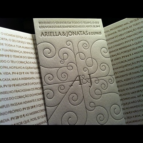 "Letterpress wedding invite, Letterpress Brasil I follow this São Paulo based studio on Instagram. They produce hand-crafted stationary and some extraordinary wedding invitations, like this one. ""Bless the Lord at all times, his praise shall continually be on my lips. Psalms 34:1 Ariella & Jonatas's parents"""