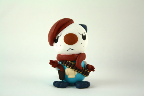 tinycartridge:  Revolver Oshawott figurine created by Camille Young. If you're quick, you can join in on the auction at TheSpeedGamers to win this piece. I'm unsure how the auction works, though — I think you make a donation to ACT Today (Autism Care and Treatment)? See also: More awesome Camille Young figures
