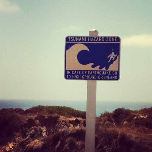 I enjoy the optimism displayed on the sign. Run little guy, RUN! (Taken with Instagram at San Clemente State Beach)