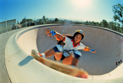 Judi Oyama at Winchester Skatepark's pool. All time favorite pool rode for Santa Cruz Skateboard [Photo by John Krisik]