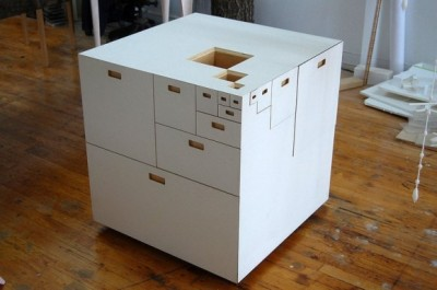 youmightfindyourself:  28-inch plywood cube, top, with multiple drawers on all sides,  by Takeshi Miyakawa.
