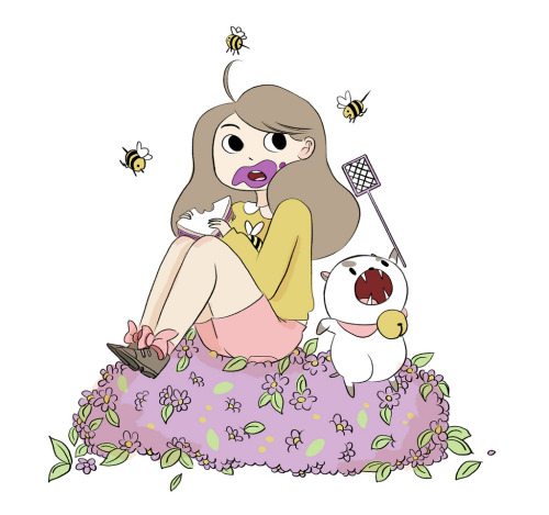 "beeandpuppycat:  Meet Bee  Bee is a young lady trying to make her way in the world. She often acts before thinking, which can lead her into trouble (and adventure!). She also has a strong, nurturing personality, and doesn't think twice about taking in Puppycat when he needs help. Although her laid-back-space-casey attitude and lack of skills tend to keep her from maintaining a job for long in the real world, she isn't someone who easily gives up, and with the experiences she gains at the magical temp agency she stumbles on, she'll finally have the chance to find out what she's meant to do with her life.  Natasha Allegri's ""Bee & PuppyCat"" arrives this fall on Too Cool! Cartoons, a cartoon shorts anthology show on Cartoon Hangover.  Oh my god. You guys, oh my god."