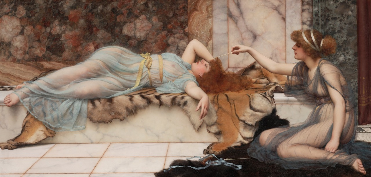 fuckyeahpreraphaelites:  Mischief and ReposeJohn William Godward1895