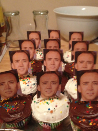 onac911:  raves-and-pianos:  Me and my friends are having a Nicholas Cage party tonight and my friend made Nick Cage cupcakes.  this is what I need now