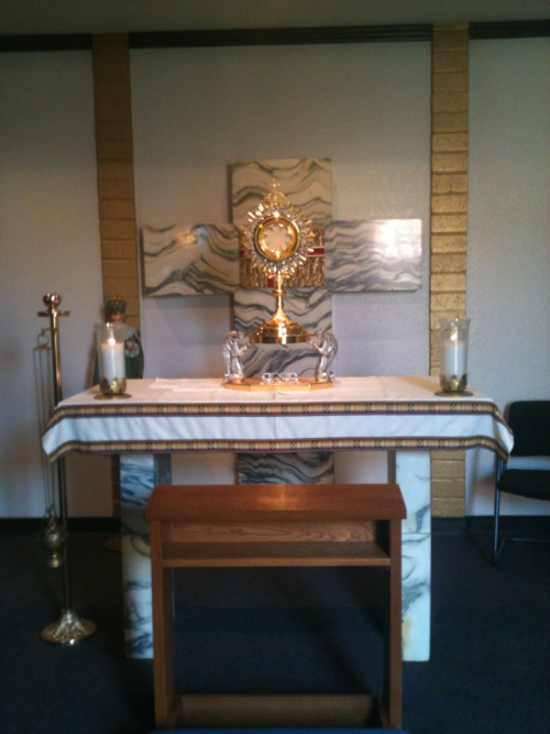 his-beautiful-princesses:  Eucharistic Adoration at my church ❤ Jesus looks lovely today!