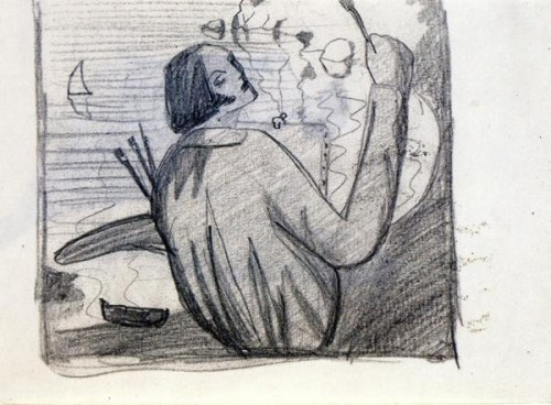 Study for Self-Portrait, 1920. Pencil on Paper; by Salvador Dali