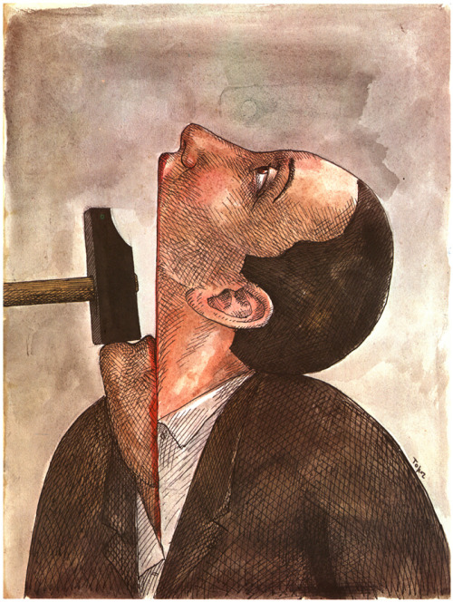 "2headedsnake:  artbrokerage.com Roland Topor ""Shut Up""1976  Keep your mouth shut n your eyes open your in a position to learn a thing or two - DEnzel Washington  training day"