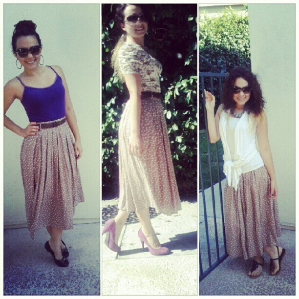 one skirt three outfits! #outfits #outfitoftheday #ofod #clothe #clothing #trends #skirt #style #fashion #instyle #stylist #blogger #blogs #girl #girly #instafashion #followgram #summer #calu #california #belovedblog #lovedblog #colombiana  (Taken with Instagram)