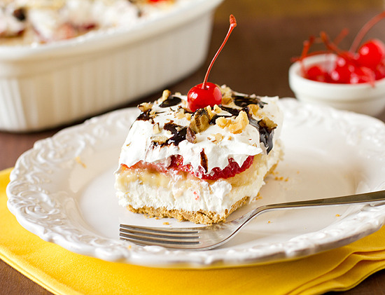(via No-Bake Banana Split Cake Dessert)Made this last weekend for Fathers Day. Everyone loved it!