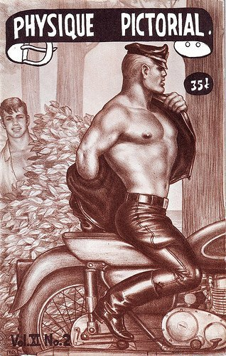 Physique Pictorial, late 1950s. Cover illustration by Tom of Finland.  Physique Pictorial was published from 1951-1990. Tom of Finland's first cover was in 1957. For the history of Physique Pictorial: http://blog.athleticmodelguild.com/?p=2563. Visit this website for more on Tom of Finland: http://www.tomoffinlandfoundation.org/.
