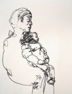 SUBMISSION: Mother and child drawn on the downtown 1 subway train, nyc. by Gregory Muenzen