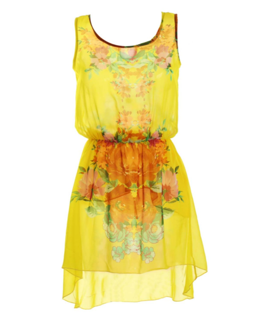 INLOVEWITHFASHION LOVE Yellow Sleeveless Placement Print Dress