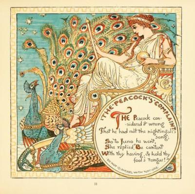 "Walter CraneIllustration for The baby's own Aesop (1908) ""The Peacock's Complaint"""