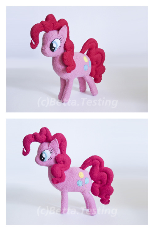 Pinkie Pie from My Little Pony: Friendship Is MagicMaterials: Arctic fleece, polyester stuffingDimensions: Length - 8 inches, height - 8 inchesCompleted: 06.22.12—————Pinkie Pie (c) Hasbro