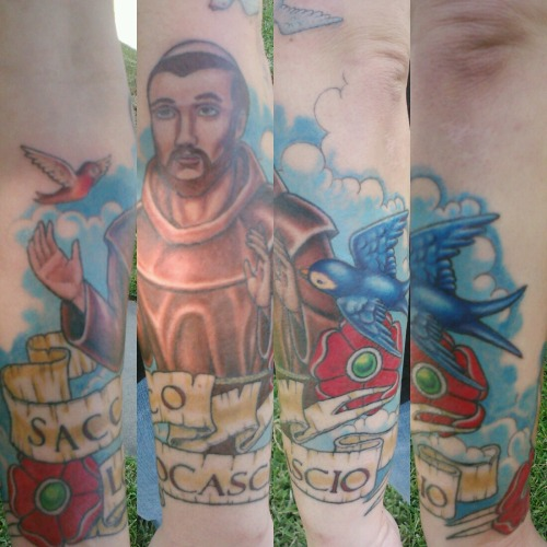 St. Francis preaches to the birds #tattoos by Elijah Pashby