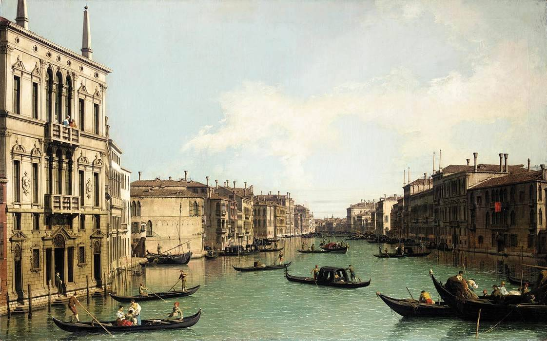 cavetocanvas:  Canaletto, Venice: The Grand Canal, Looking North-East from Palazzo Balbi to the Rialto Bridge, c. 1724