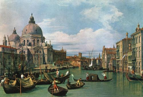 cavetocanvas:  Canaletto, The Grand Canal and the Church of the Salute, 1730