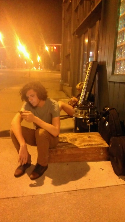 husoj:  Sitting outside of The News Cafe waiting to load in. Second last show of tour, lets make it count