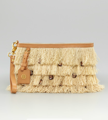 Maybe it's just me and my abiding hatred for raffia, but this is not a pretty sight. I don't want a purse that looks like a grass skirt, even if it does have some jewels sewn on for good measure.  Tory Burch Runway Raffia Clutch