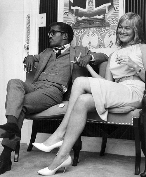 sammydavisjunior:  Sammy Davis, Jr. and May Britt at a London hotel, May 7th, 1960, where they announced their engagement to their press.