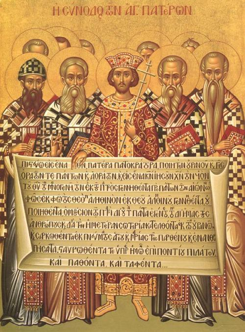 Icon depicting Emperor Constantine (center) and the Fathers of the First Council of Nicaea of 325 as holding the Niceno–Constantinopolitan Creed of 381.  The Nicene Creed has remained for nearly seventeen centuries a secure foundation for the church's theology, worship, and prayer. Not only does it succinctly summarize the facts of biblical revelation, but it also stands as a bulwark against the persistent human tendency to prefer logical deductions concerning what God must be like and how he must act to the lived realities of God's self-disclosure. And it powerfully restates the realities of Christ's divine nature, his incarnation as a human being, and the work of salvation he accomplishes for his people. The turning point in Christian history represented by the Nicene Creed was the church's critical choice for the wisdom of God in preference to human wisdom. Theologically considered, no decision could ever be more important.  Mark A. Noll, Turning Points: Decisive Moments in the History of Christianity