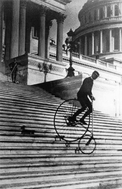 DISREGARD THE CONSTABULARY  Cycling down the Capitol steps, 1885 | Retronaut