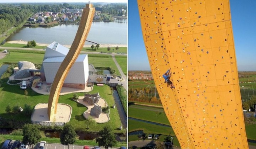 """Would you be brave enough to climb it?  Excalibur is the tallest climbing wall in the world and it's located in Amsterdam, Netherlands. It's 37 meters tall or 121 ft. You would expect to see a straight wall for climbing, but Excalibur is slightly bended and therefore a greater challenge to all the climbers.   This wall is climbable from all sides and great challenge for all wall climbers out there. There's not a better feeling that standing on top of a 37 meter tall wall and watching the world bellow you. That's something special and it's definitely something that you should experience.Of course, if you're afraid of heights, there's a safety one mattress down bellow. One mattress might not be enough, but it's good to know that it's there.""  More pics here! Quote Via Interactive Architecture: http://www.interactivearchitecture.net/excalibur-tallest-climbing-wall-netherlands/"